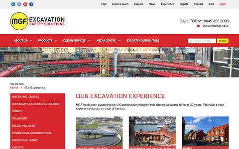 Screenshot of Case Studies Page mgf.ltd.uk - Our Experience | MGF Excavation Safety Solutions - captured Oct. 1, 2018