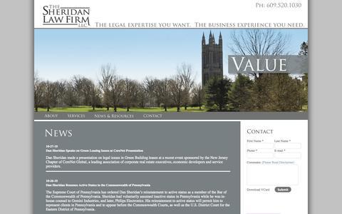 Screenshot of Press Page sheridanlawllc.com - Princeton, USGBC LEED FTC Compliance, New Jersey Business Lawyer - captured Oct. 6, 2014