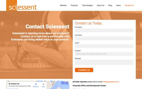 Screenshot of Contact Page sciessent.com - Contact Us About Our Antimicrobial & Odor Control Products | Sciessent - captured Feb. 4, 2016