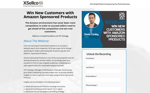 Screenshot of Landing Page xsellco.com - Amazon Sponsored Products Webinar - captured Oct. 1, 2017