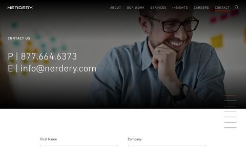 Screenshot of Contact Page nerdery.com - P | 877.664.6373 E | info@nerdery.com | Nerdery - captured Oct. 26, 2018
