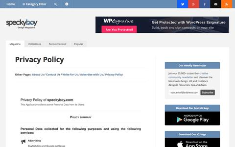 Screenshot of Privacy Page speckyboy.com - Privacy Policy - Speckyboy Design Magazine - captured March 19, 2016