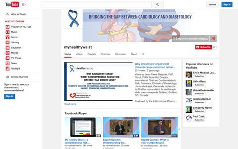Screenshot of YouTube Page youtube.com - myhealthywaist  - YouTube - captured Oct. 22, 2014