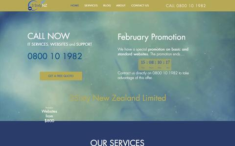 Screenshot of Home Page 3sixtynz.com - 3Sixty IT Support and Website Design Auckland - captured Feb. 13, 2016