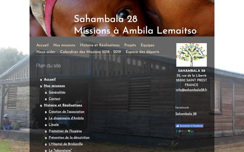 Screenshot of Site Map Page jimdo.com - Plan du site - Sahambala 28 : missions humanitaires à Ambila Lemaitso, Madagascar - captured Oct. 29, 2018