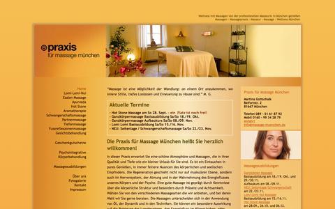 Screenshot of Home Page massage-muenchen.de - Massagen | Massagepraxis | Masseur | Massage | Wellness München- massage-muenchen.de - captured Sept. 23, 2014