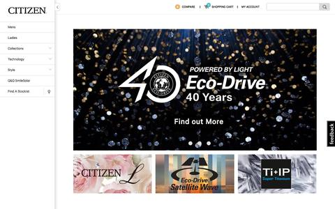 Screenshot of Home Page citizenwatches.com.au - Eco-Drive Watches, Fashion Watches, Promaster Sport Watches by Citizen | Citizen Watches Australia - captured Sept. 18, 2016