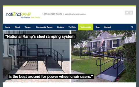 Screenshot of Testimonials Page nationalramp.com - Testimonials | National Ramp - captured Oct. 27, 2014