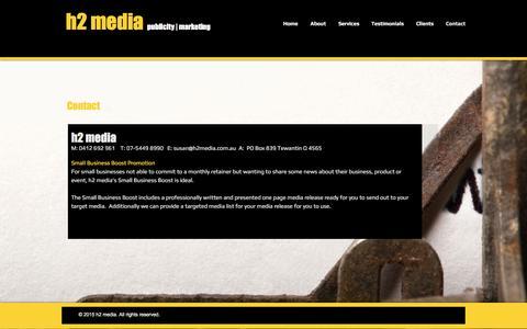 Screenshot of Contact Page h2media.com.au - Contact H2 Media Noosa - captured May 23, 2017