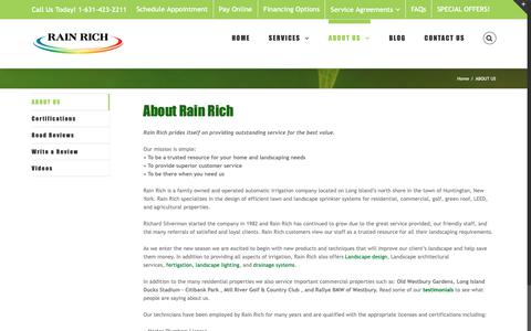 Screenshot of About Page rainrich.com - Lawn Sprinkler and Landscape Companies | Irrigation System Installations - captured Sept. 27, 2018