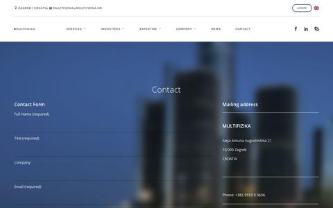 Screenshot of Contact Page multifizika.hr - CONTACT - MULTIFIZIKA - captured Aug. 2, 2015