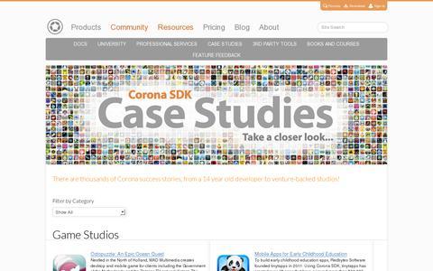 Screenshot of Case Studies Page coronalabs.com - Case Studies on Mobile App Development with Corona SDK | Corona Labs - captured July 20, 2014