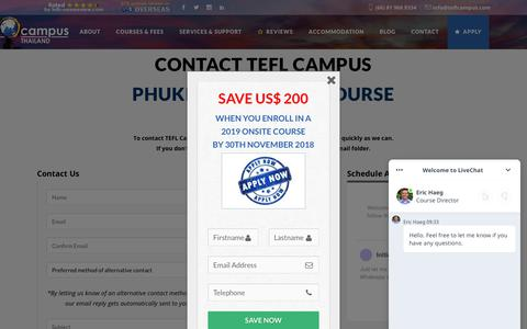 Screenshot of Contact Page teflcampus.com - Contact Thailand's highest rated accredited TEFL courses | TEFL Campus - captured Oct. 18, 2018