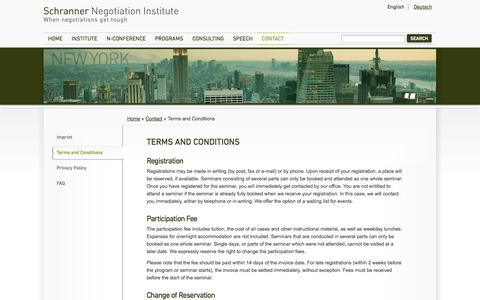 Screenshot of Terms Page schranner.com - Terms and Conditions - captured Oct. 4, 2014