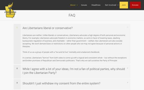 Screenshot of FAQ Page lpgeorgia.com - FAQ - Libertarian Party of Georgia - captured Sept. 28, 2018