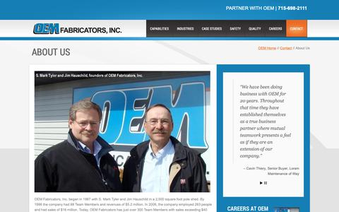 Screenshot of About Page oemfab.com - About Us - OEM Fabricators, Inc | OEM Fabricators, Inc - captured Oct. 18, 2018