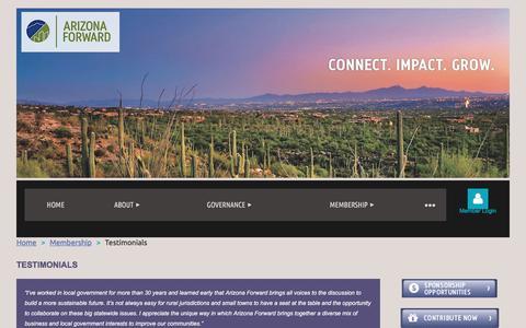 Screenshot of Testimonials Page arizonaforward.org - Arizona Forward - Testimonials - captured July 30, 2018