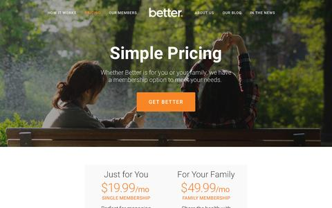 Screenshot of Pricing Page getbetter.com - Pricing — Home - captured Sept. 26, 2015
