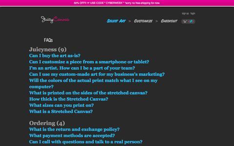 Screenshot of FAQ Page juicycanvas.com - FAQs » JuicyCanvas - captured Dec. 29, 2016