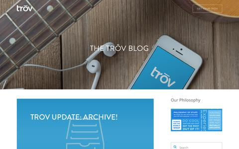 Screenshot of Blog trov.com - The Trōv Blog | Trōv | The Cloud For Your Things - captured Nov. 17, 2015