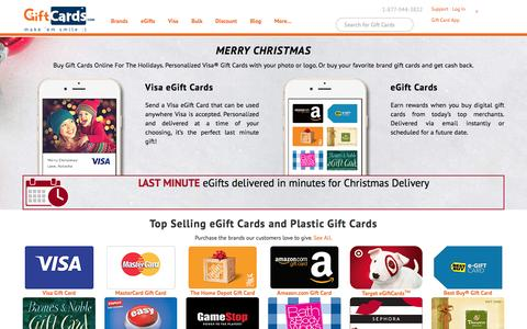 Screenshot of Home Page giftcards.com - GiftCards.com: Buy Gift Cards, eGift Cards, Visa & Discount - captured Dec. 25, 2015