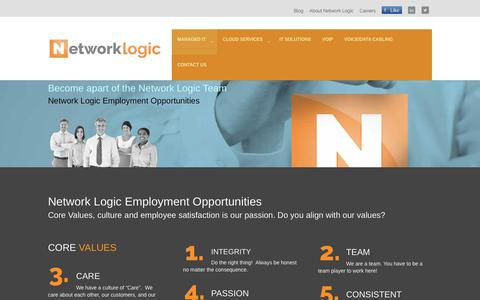 Screenshot of Jobs Page networklogic.net - Network Logic Employment | The Managed IT Experts - captured Oct. 27, 2017