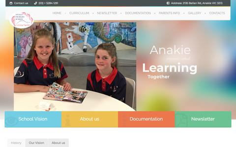 Screenshot of Home Page anakieps.vic.edu.au - Anakie Primary School | Learning Together! - captured Oct. 31, 2018