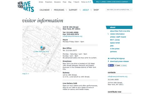 Screenshot of Contact Page Maps & Directions Page newyorklivearts.org - New York Live Arts: Visitor Information - captured Oct. 25, 2014