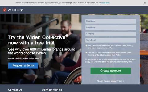 Screenshot of Trial Page widen.com - Free Trial - captured Aug. 24, 2018