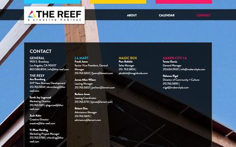 Screenshot of Contact Page the-reef.com - Contact | The Reef A CREATIVE HABITAT - captured Oct. 6, 2014