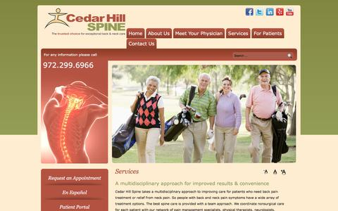 Screenshot of Services Page cedarhillspine.com - Spinal Stenosis TX, Neck Pain Relief Cedar Hill, Shoulder and Neck Pain, Epidural Injections Dallas - captured July 16, 2018