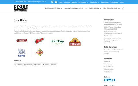 Screenshot of Case Studies Page resultgroup.com.au - Product packaging case studies - captured Oct. 20, 2018