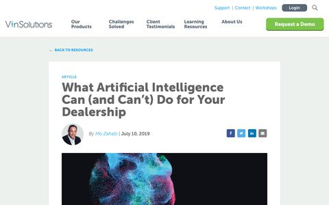 Screenshot of Blog vinsolutions.com - VinSolutions - What Artificial Intelligence Can Do for You - captured Dec. 3, 2019