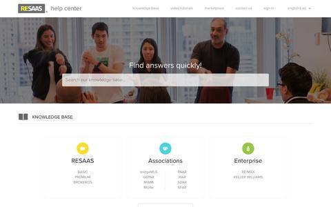 Screenshot of Support Page resaas.com - RESAAS Help Center - captured July 13, 2018
