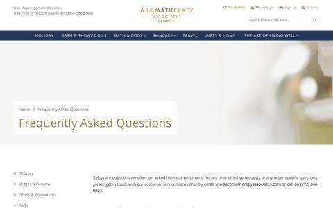 Screenshot of FAQ Page aromatherapyassociates.com - FAQs   Aromatherapy Associates - captured Nov. 6, 2018