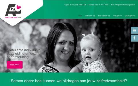 Screenshot of Home Page ambulantezorgoost.nl - Cliënten van Ambulante Zorg Oost zijn niet in een hokje te plaatsen. - captured May 29, 2017