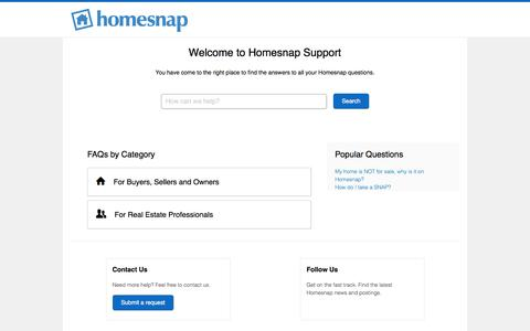 Screenshot of Support Page homesnap.com - Homesnap - captured Sept. 7, 2017
