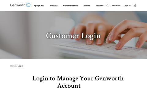 Screenshot of Login Page genworth.com - Genworth Login - captured Jan. 19, 2020