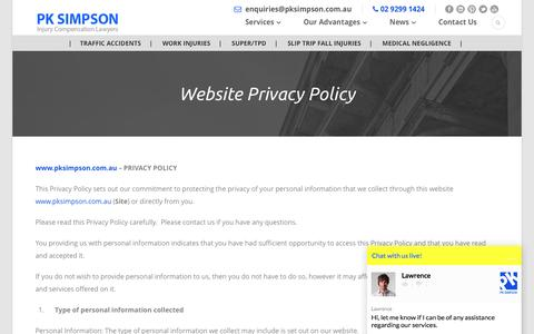 Screenshot of Privacy Page pksimpson.com.au - Website Privacy Policy - PKSimpson - captured Oct. 16, 2016