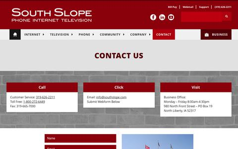 Screenshot of Contact Page southslope.com - Contact   South Slope   Phone. Internet. Television. - captured Oct. 23, 2017