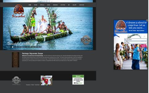 Screenshot of Home Page sinalei.com - #1 Resort Samoa | Samoa Accommodation In Luxury Beach Resort - captured Oct. 9, 2015