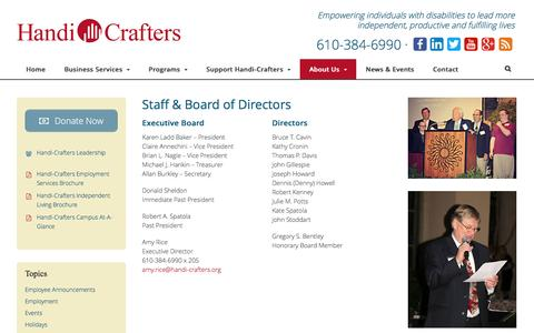 Screenshot of Team Page handi-crafters.org - Staff & Board of Directors | Handi-Crafters - captured Dec. 7, 2015