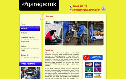 Screenshot of Services Page thegaragemk.com - Car servicing in Buckinghamshire | Vehicle Repair in Milton Keynes - captured Oct. 7, 2014