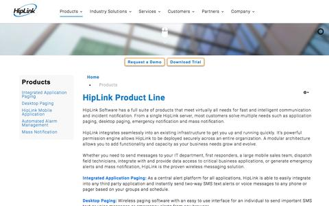 Screenshot of Products Page hiplink.com - Products - captured Jan. 30, 2016