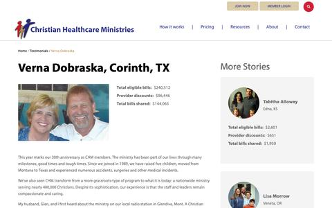 Screenshot of Testimonials Page chministries.org - Corinth, TX              | Christian Healthcare Ministries - captured May 16, 2019