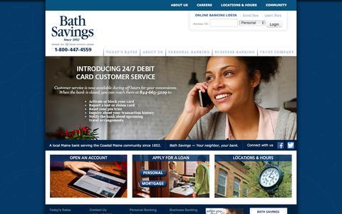 Screenshot of Home Page bathsavings.com - Local Maine Bank Serving the Coastal Maine Community | Bath Savings Institution - captured Feb. 7, 2016