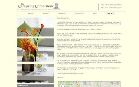 Screenshot of Contact Page caregivingcornerstone.com - Contact | The Caregiving Cornerstone - captured Sept. 29, 2014