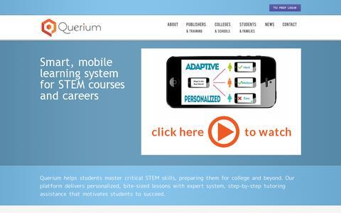 Screenshot of Home Page querium.com - Querium - Placement Test Preparation - captured July 17, 2014