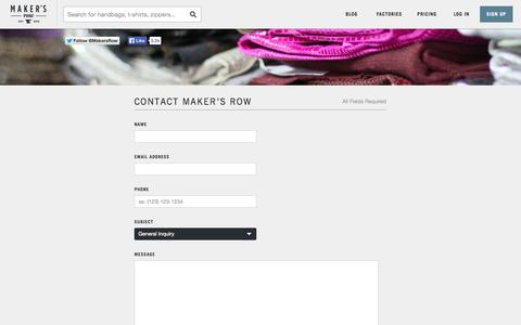 Screenshot of Contact Page makersrow.com - Contact Us | Maker's Row - Factory Sourcing Made Easy - captured Oct. 28, 2014