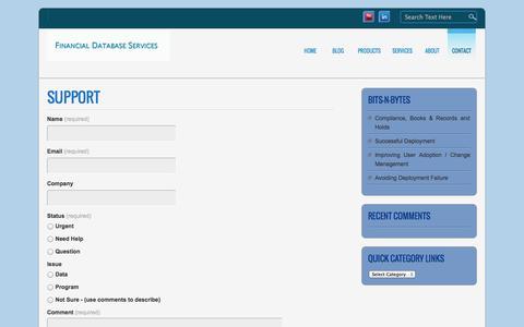 Screenshot of Support Page fdbs.com - Broker Dealer Technology » Support - captured Oct. 5, 2014